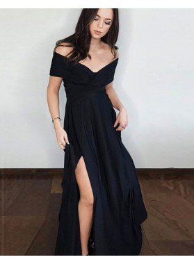 2021 New Arrival A Line Black Off Shoulder Side Slit Short Sleeves Prom Dresses