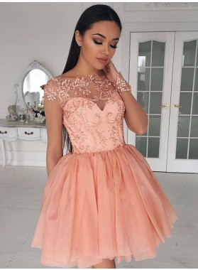 2020 Cheap Knee Length Coral A Line Long Sleeves Chiffon Short Prom Dress