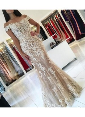 Amazing Mermaid Off Shoulder Sweetheart Tulle Champagne and White Appliques Long Prom Dress 2020