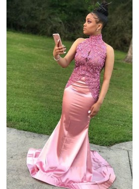 2020 New Arrival Mermaid Pink Elastic Satin High Neck South African Long Prom Dress