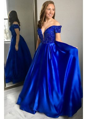 New Arrival A Line Elastic Satin Royal Blue Off Shoulder Sweetheart Bead 2020 Prom Dress
