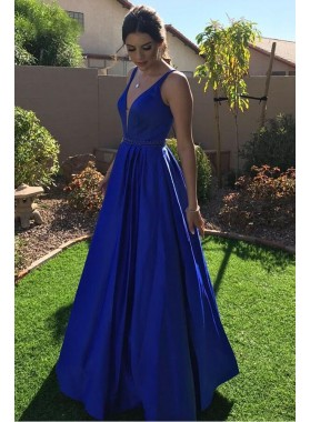 2021 Elegant A Line Satin Royal Blue V Neck Long Prom Dress