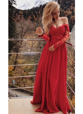 2021 Newly A Line Long Sleeves Red Sweetheart Satin Off Shoulder Long Lace Prom Dress