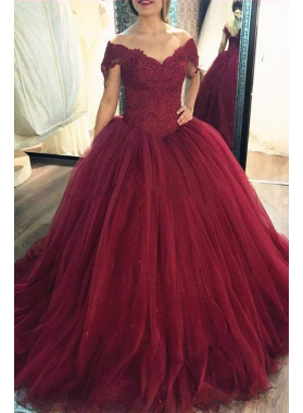 2020 New Arrival Tulle Burgundy Off Shoulder Sweetheart Lace Ball Gown Prom Dress