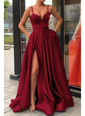 2021 New Designer A Line Sweetheart Satin Burgundy Long Prom Dress