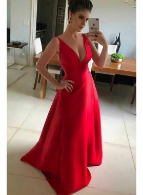 Cheap A Line Satin V Neck Red Long 2021 Prom Dress