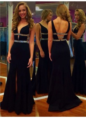 2020 Charming Black Sheath Side Slit Beaded Sweetheart Backless Prom Dress