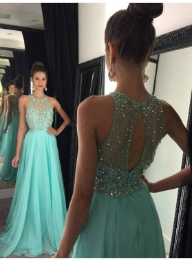 Cheap A Line Chiffon Beaded Key Hole Back Turquoise Long 2020 Prom Dress
