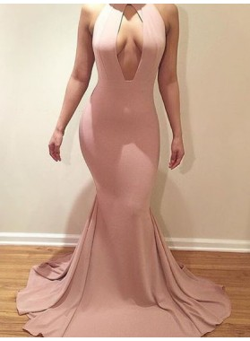 Amazing Mermaid Blush Pink High Neck Key Hole Backless South African Prom Dress 2021