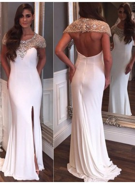 New Arrival Sheath White Backless Capped Sleeves Beaded Scoop Side Slit 2020 Prom Dress