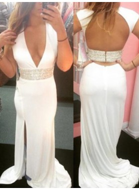 Amazing White Sheath V Neck Side Slit Backless Long Prom Dress 2021