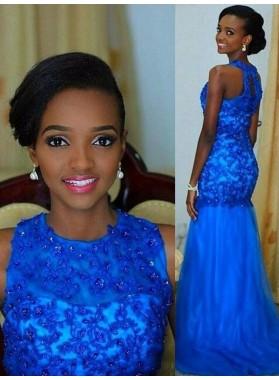 2021 Amazing Royal Blue Mermaid Tulle and Appliques African American Long Prom Dress