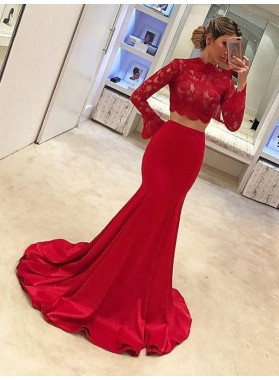 2021 New Arrival Mermaid Red Long Sleeves Lace Two Pieces Satin Prom Dress