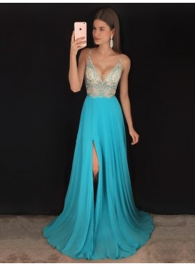 2020 New Arrival A Line Chiffon Side Slit Beaded V Neck Beaded Blue Prom Dress