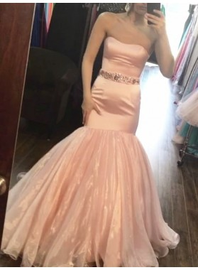 2021 New Arrival Mermaid Sweetheart Peach Satin Organza Long Prom Dress