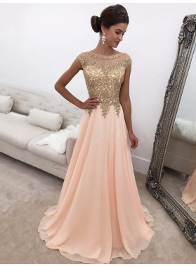 2021 New Designer A Line Chiffon Peach and Gold Appliques Scoop Prom Dress