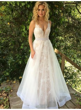 2020 Elegant A Line White Sweetheart Tulle Long Prom Dress With Appliques