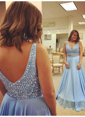 2021 Newly A Line Chiffon Blue Sweetheart Beaded Two Pieces Plus Size Prom Dress