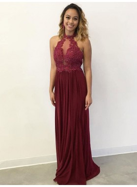 Cheap A Line Burgundy High Neck With Appliques Spandex 2021 Prom Dress