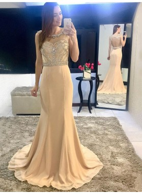 2021 New Arrival Mermaid Chiffon Champagne Beaded Backless Scoop Long Prom Dress