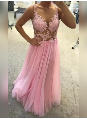 2021 Cheap A Line Tulle Pink Scoop See Through Prom Dress With Appliques