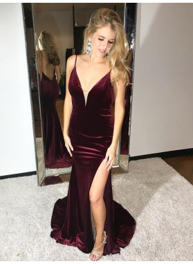 Sexy Sheath Grape Velvet Sweetheart Side Slit Spaghetti Straps Prom Dress