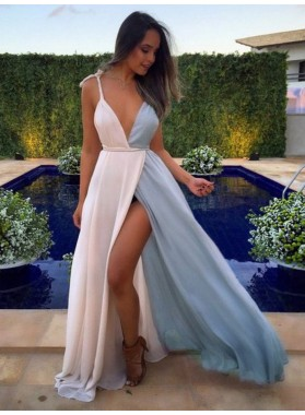 Charming A Line Chiffon White Mixed Color Sweetheart Side Slit Prom Dress