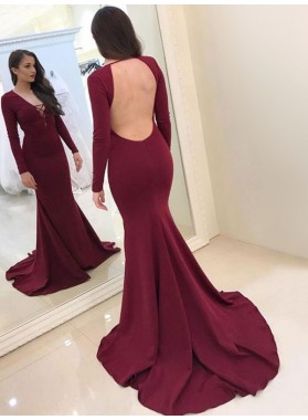 2020 Sexy Mermaid Burgundy Satin Long Sleeves Backless V Neck Long Prom Dress