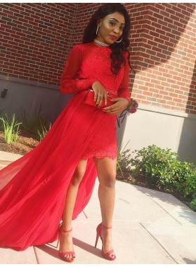 2021 Charming Red Sheath High Low Knee Length Lace Tulle Short Long Sleeves Prom Dress