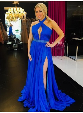 Charming A Line Chiffon Royal Blue Halter Key Hole Backless Side Slit Prom Dress