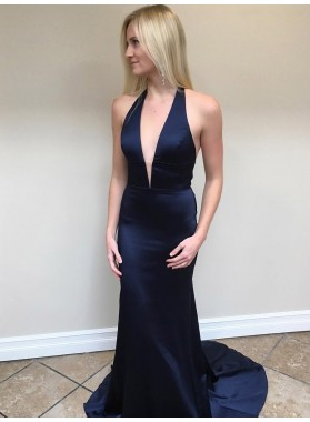 Cheap Sheath Dark Navy Deep V Neck Halter Plain Prom Dress 2020