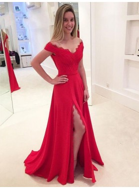 Cheap A Line Red Off Shoulder Sweetheart Side Slit Prom Dress 2021