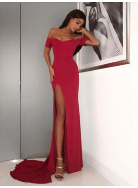 Sexy Sheath Off Shoulder Sweetheart Side Slit Long Red Prom Dress 2020