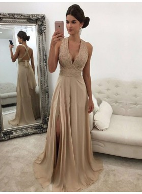 Cheap Chiffon A Line Side Slit Champagne Halter Lace Up Back V Neck Prom Dress