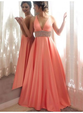 Elegant A Line Satin Coral V Neck Beaded Sash Prom Dress 2020