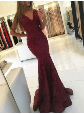 Sexy Mermaid Burgundy V Neck Lace Sleeveless Long Prom Dress 2021