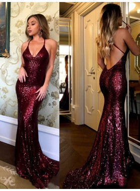 Sexy Burgundy Halter Backless Sequence Mermaid Criss Cross Prom Dress 2021