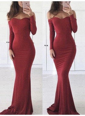 Sexy Burgundy Long Sleeves Off Shoulder Mermaid Long Sweetheart Prom Dress 2020