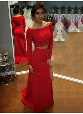 2021 Cheap Sheath Long Sleeves Red Side Slit Two Pieces Off Shoulder Prom Dress