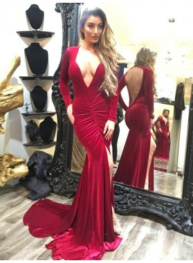 Sexy Red Deep V Long Sleeves Mermaid Side Slit Velvet Backless Prom Dress 2021