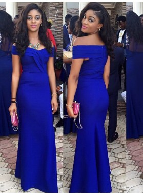 Charming Sheath Satin Off Shoulder Royal Blue Prom Dress 2021