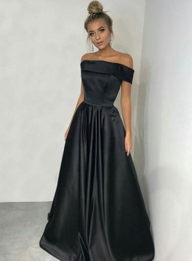 Cheap A Line Satin Black Off Shoulder Simple Prom Dress 2021