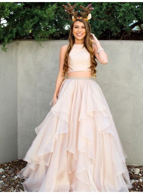 2021 New Arrival A Line Chiffon Ruffles Pearl Pink Two Pieces Prom Dress
