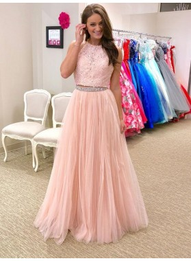 New Arrival Tulle A Line Pink Two Pieces Lace Prom Dress 2021