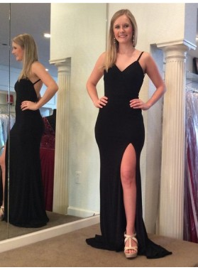 Cheap Black Sheath Backless Side Slit V Neck Prom Dress 2021