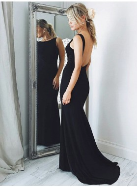 2021 Sexy Black Sheath Scoop Neck Backless Long Prom Dress