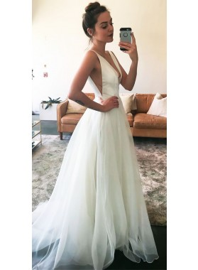 Cheap A Line White Deep V Neck Chiffon Long Prom Dress 2021