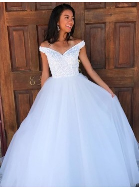 2020 New Arrival White Off Shoulder Sweetheart Ball Gown Prom Dress