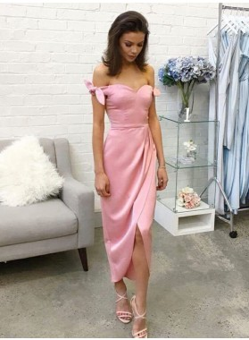 2020 Charming Pink Sheath Off Shoulder Sweetheart Bowknot Tea Length Short Prom Dress