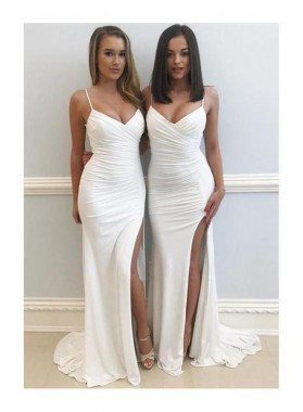 2021 Sexy Pleated White Sheath Sweetheart Chiffon Side Slit Prom Dress